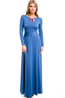 ХИТ продаж: длинное синее платье с поясом Mondigo