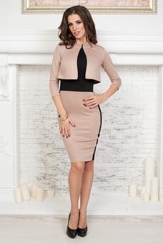 ХИТ продаж: бежевый костюм двойка: платье без рукавов и жакет Angela Ricci