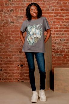 Серая футболка с цветами ZAVI со скидкой