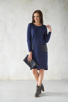 Синее платье с карманами Шарлиз