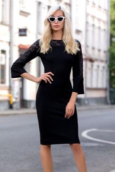 Черное платье с гипюровыми рукавами RUXARA со скидкой