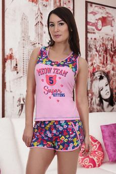 Новинка: розовая пижама с шортами Натали