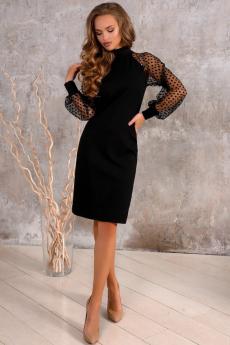Новинка: черное платье с рукавами в сетку Open Style